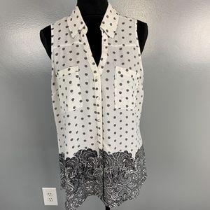Express, size L, blk & white sleeveless top